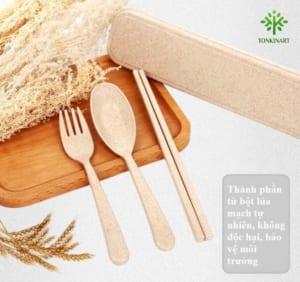 bộ đũa thìa dĩa, lúa mạch, dụng cụ lúa mạch, dụng cụ thân thiện với môi tường