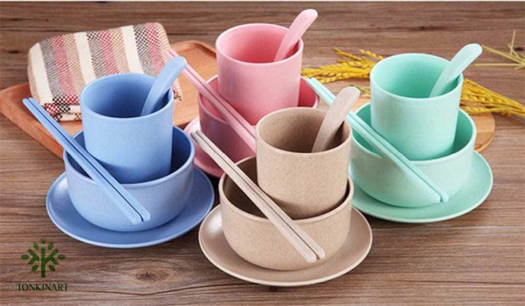 đồ dùng lúa mạch, bộ bát đũa cốc thìa,dụng cụ lúa mạch, dụng cụ thân thiện với môi tường