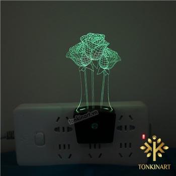 đèn led 3d ổ cắm điện