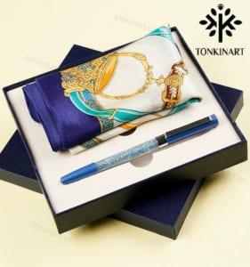 set khăn lụa bút , set quà tặng nữ, set khăn lụa, quà tặng cao cấp, quà tặng doanh nhân,