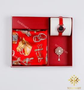 set khăn lụa trâm cài vest đồng hồ, set đồng hồ, set khăn lụa, , set quà tặng nữ, quà tặng cao cấp, quà tặng doanh nhân,