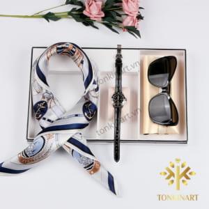 set khăn lụa đồng hồ kính, set đồng hồ , set khăn lụa, , set quà tặng nữ, quà tặng cao cấp, quà tặng doanh nhân,