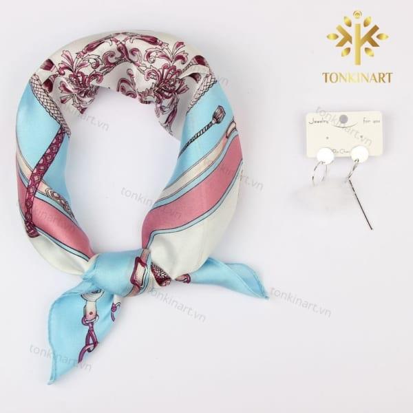 set khăn lụa hoa tai , set quà tặng nữ, set khăn lụa, quà tặng cao cấp, quà tặng doanh nhân,
