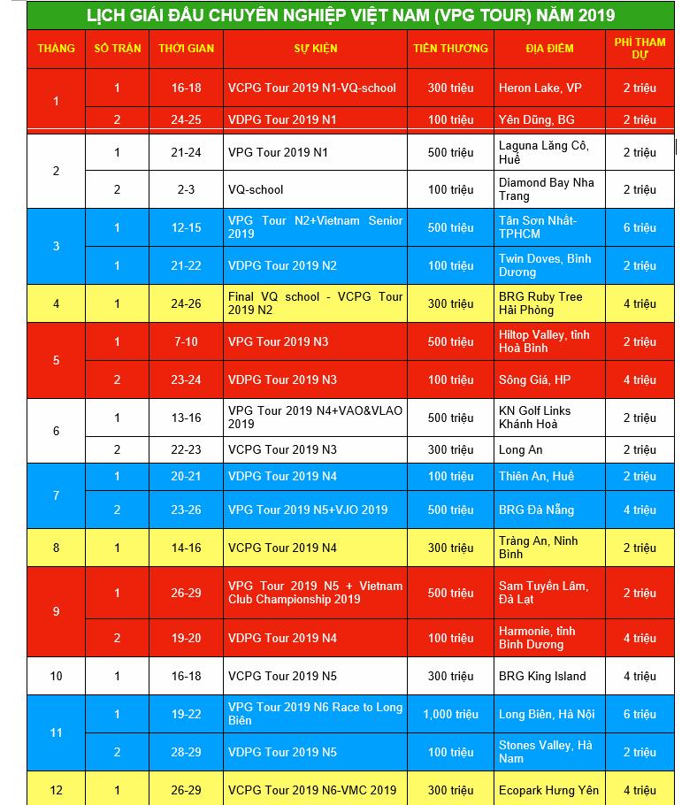 lịch giải đấu chuyên nghiệp Việt Nam